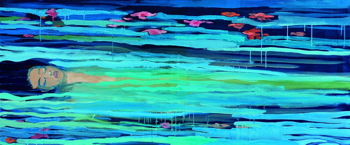 'Ofélia', 2018, acrílica sobre tela, 79 x 190 cm