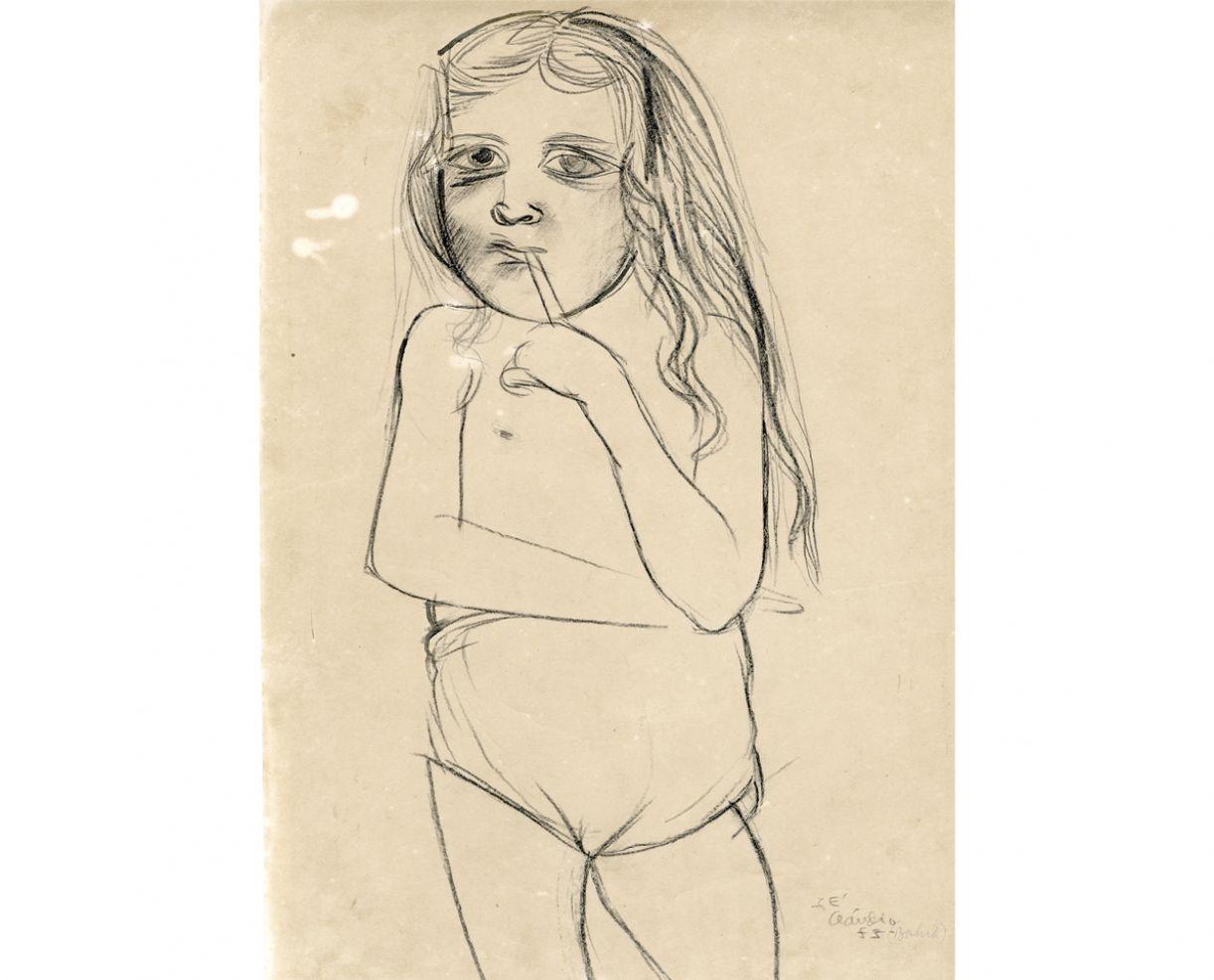 Desenho a lápis conté sobre papel canson, 32 x 46,5 cm, Bahia, 1955