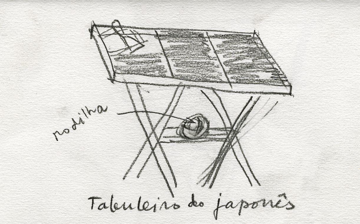 'Tabuleiro de japonês', carvão sobre papel, 21 x 12 cm, 2016
