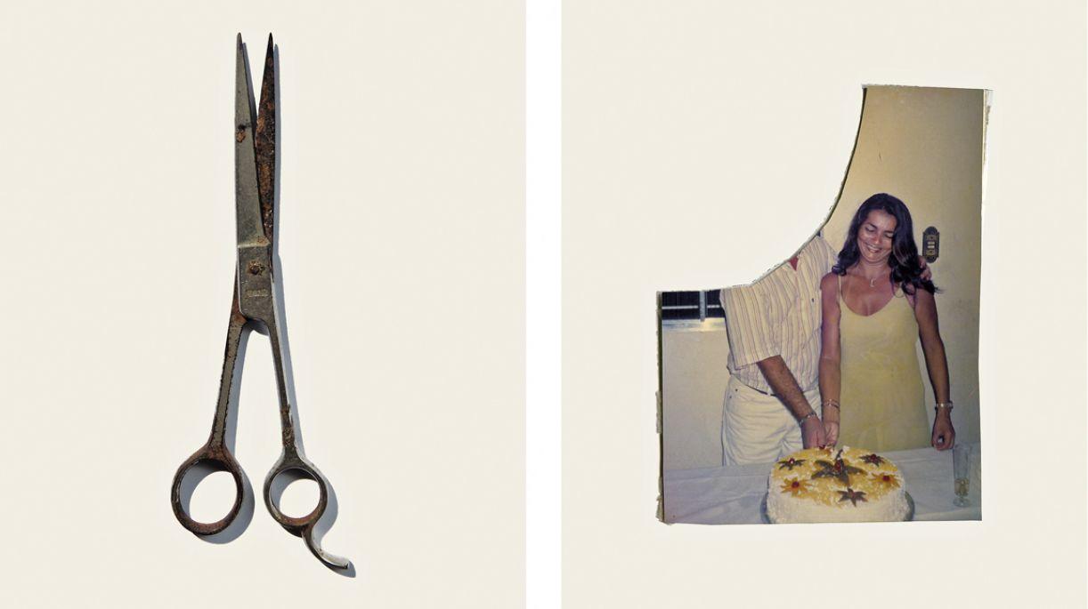 ex-amores são recortados das fotografias em exposição de Mascaro