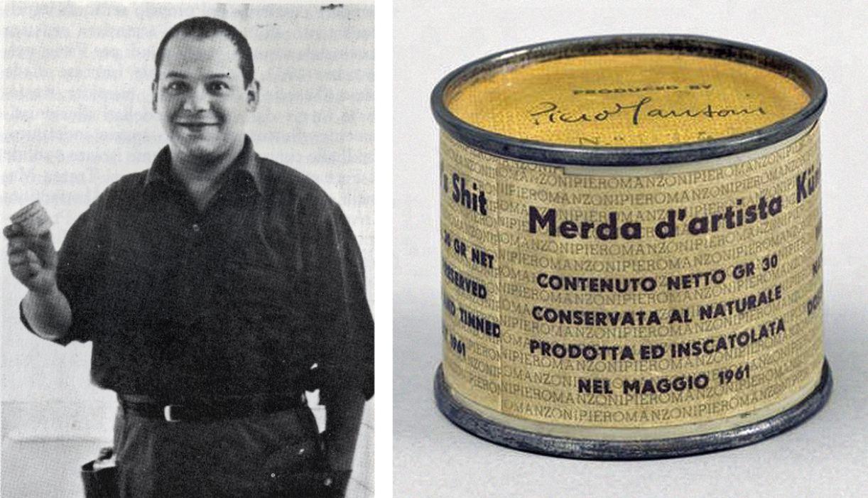 Piero Manzoni e sua  obra 'Merda d'artista'