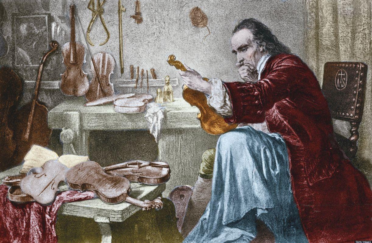 Pintura representando Antonio Stradivari e seu mítico violino
