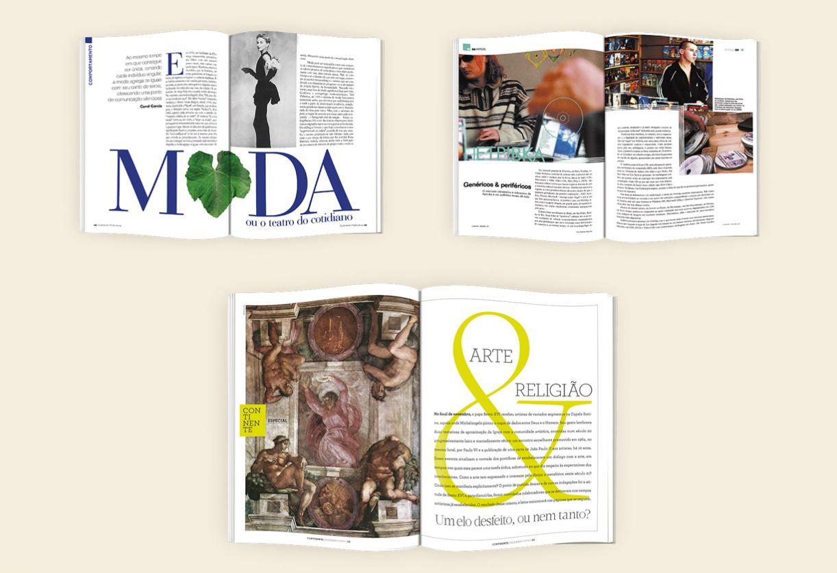 As páginas internas da revista marcam os projetos gráficos e editoriais da Continente