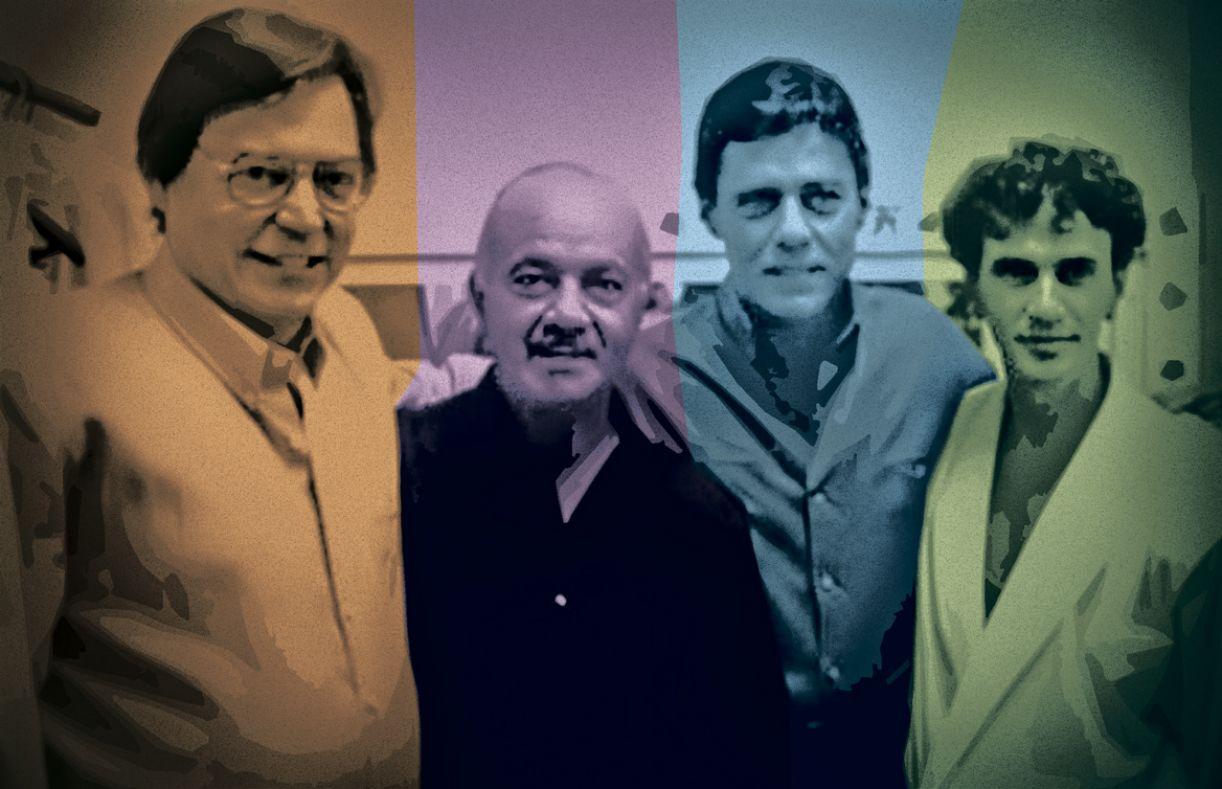 Tom Jobim e Piazzola, com Chico e Caetano, para ensaio de programa de TV, em 1986