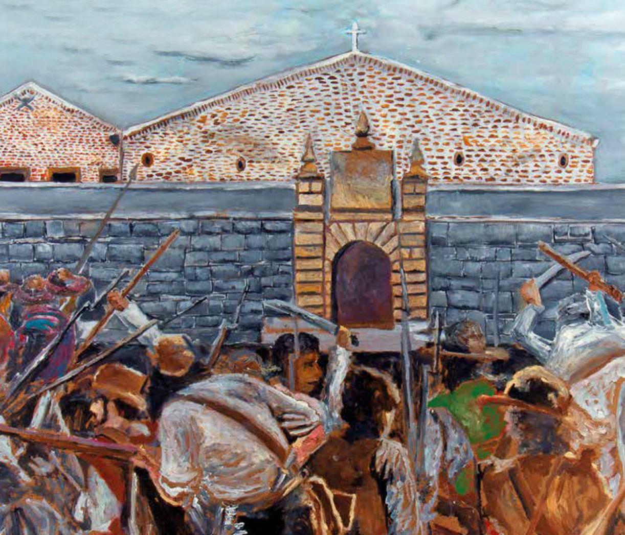 """O artista pernambucano Daaniel Araújo pintou """"Tropas pernambucanas cercam o Forte do Brum"""" a partir dos relatos do ocorrido"""
