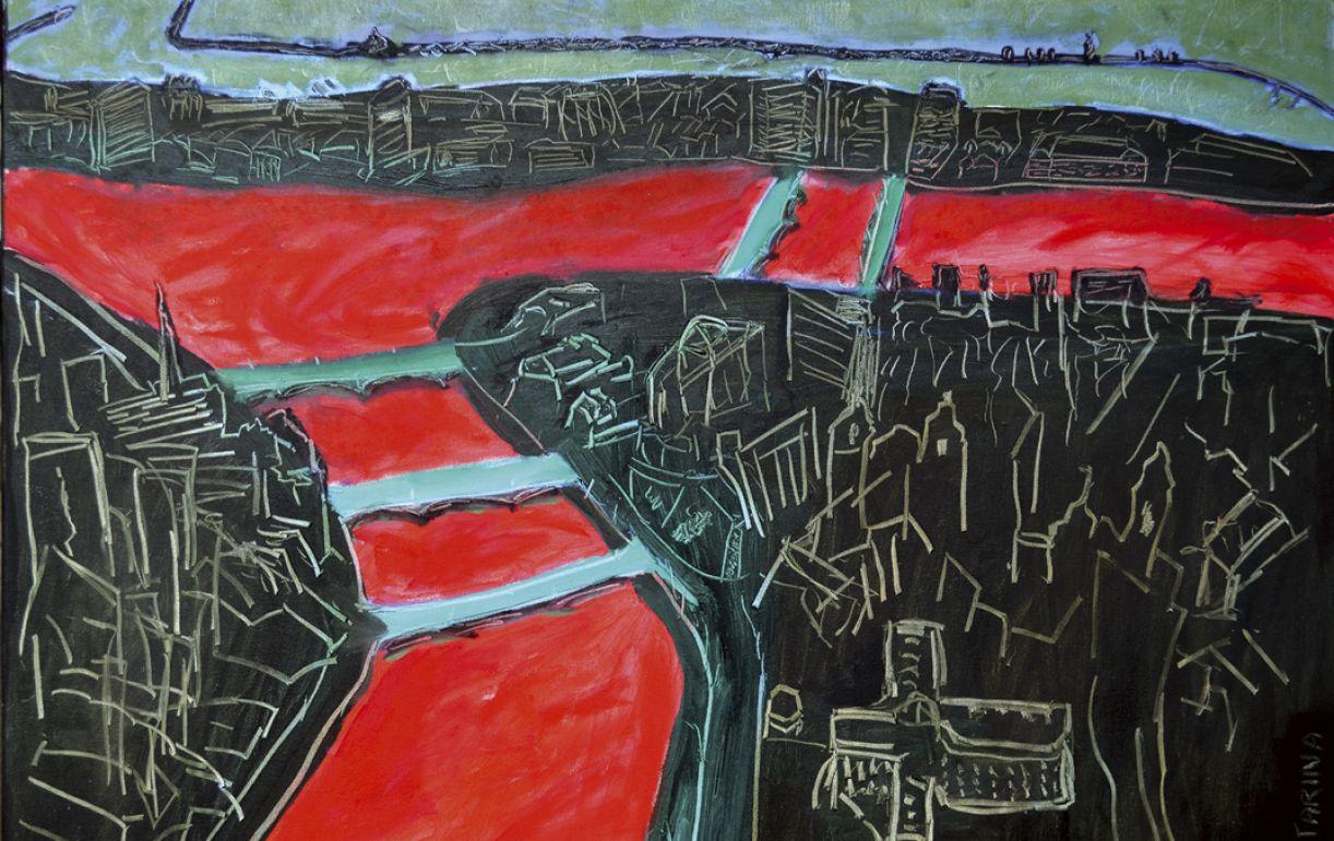 'Capibaribe vermelho', de Ana Catarina Mousinho, óleo sobre tela, 70 x 100 cm, 2013