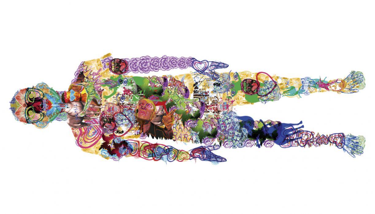 'Avatar', trabalho criado com colagens e desenhos à mão, finalizado no computador