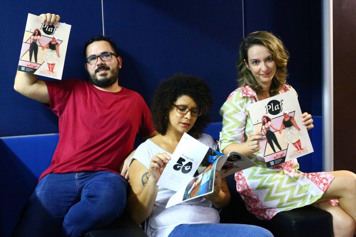 Paulo Floro, Dandara Palankof e Carol Almeida, editores da Revista Plaf