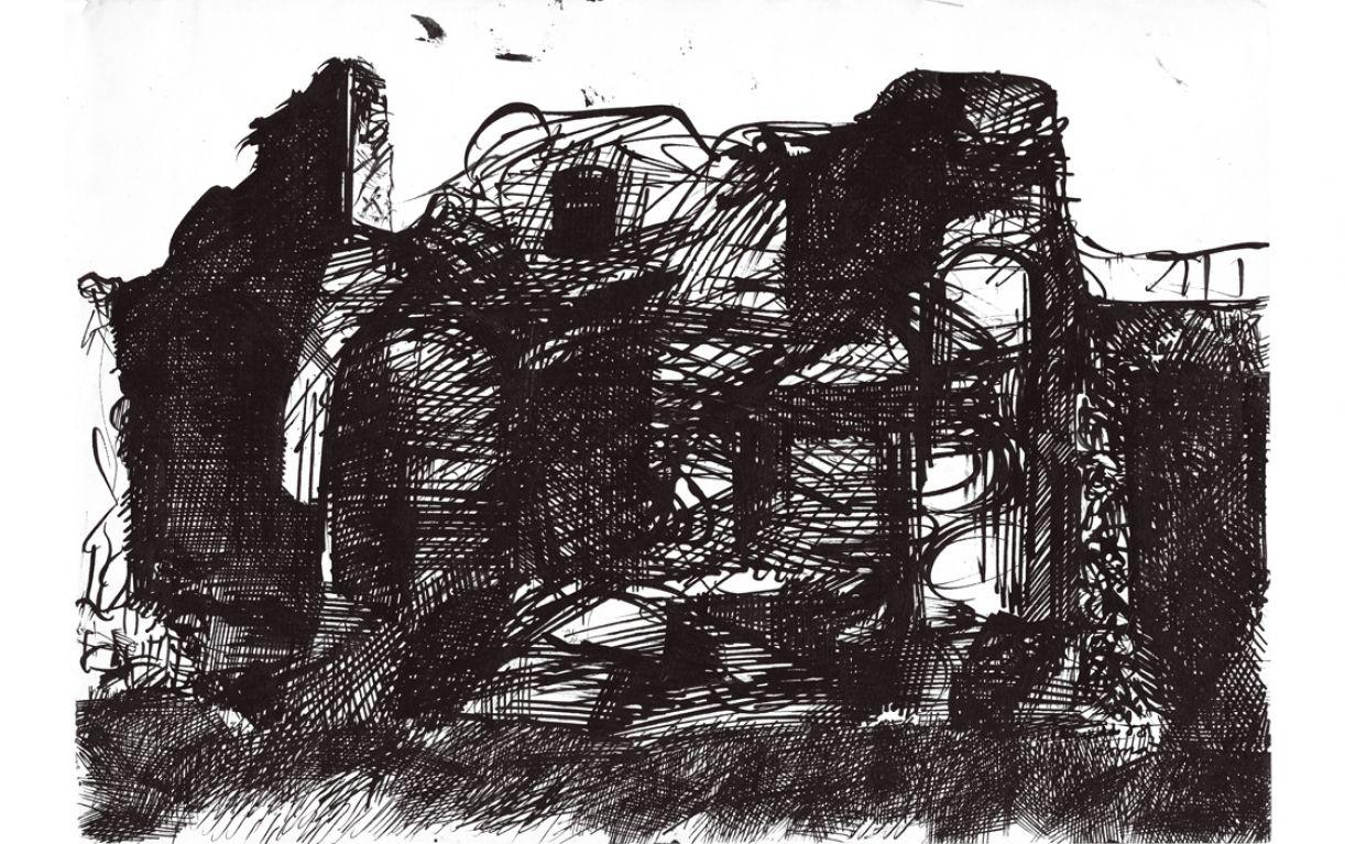 'Templo de Minerva', bico de pena sobre papel, 24 x 34,8 cm, José Cláudio, Roma, 1958