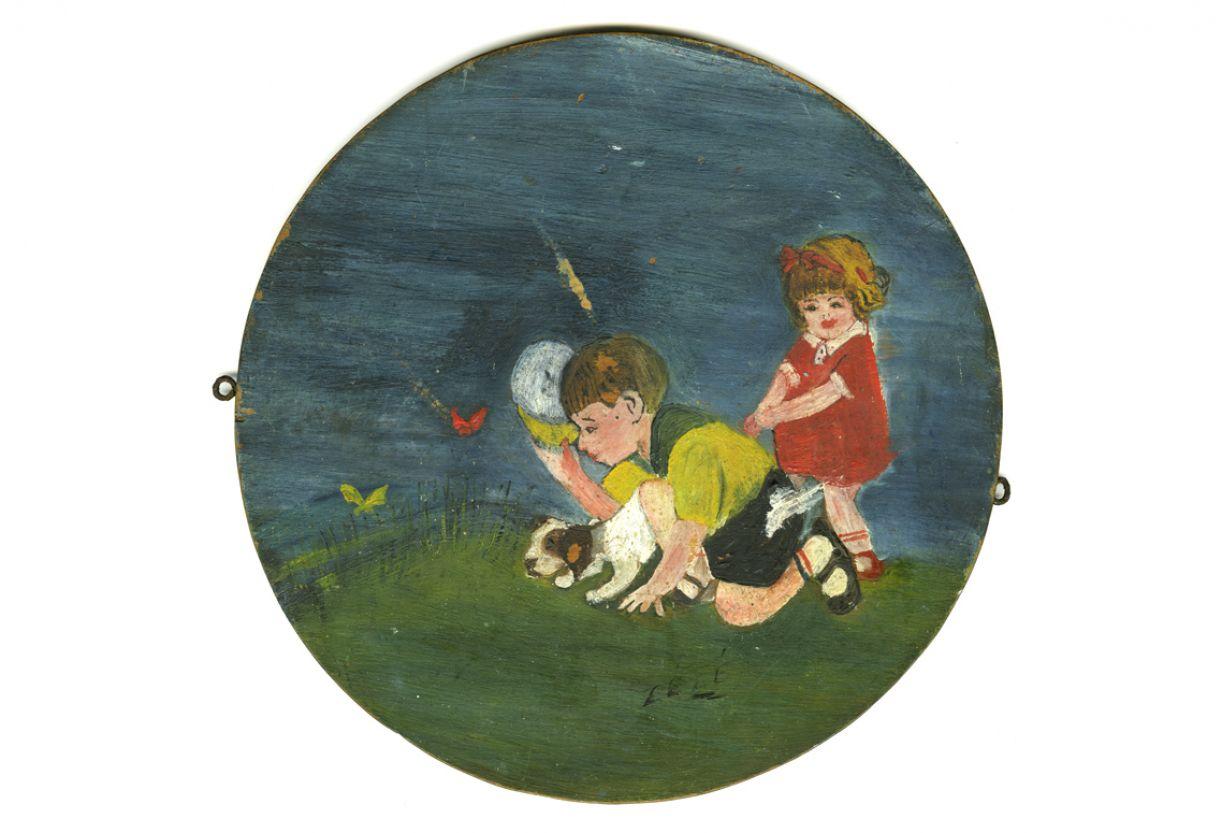 Primeiro quadro de José Claudio, óleo sobre madeira, 25 cm de diâmetro, 1940 ou 1941
