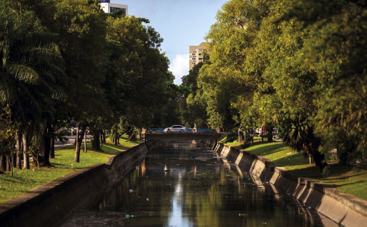 Avenida Agamenon Magalhães, que margeia canal, possui trechos bem arborizados