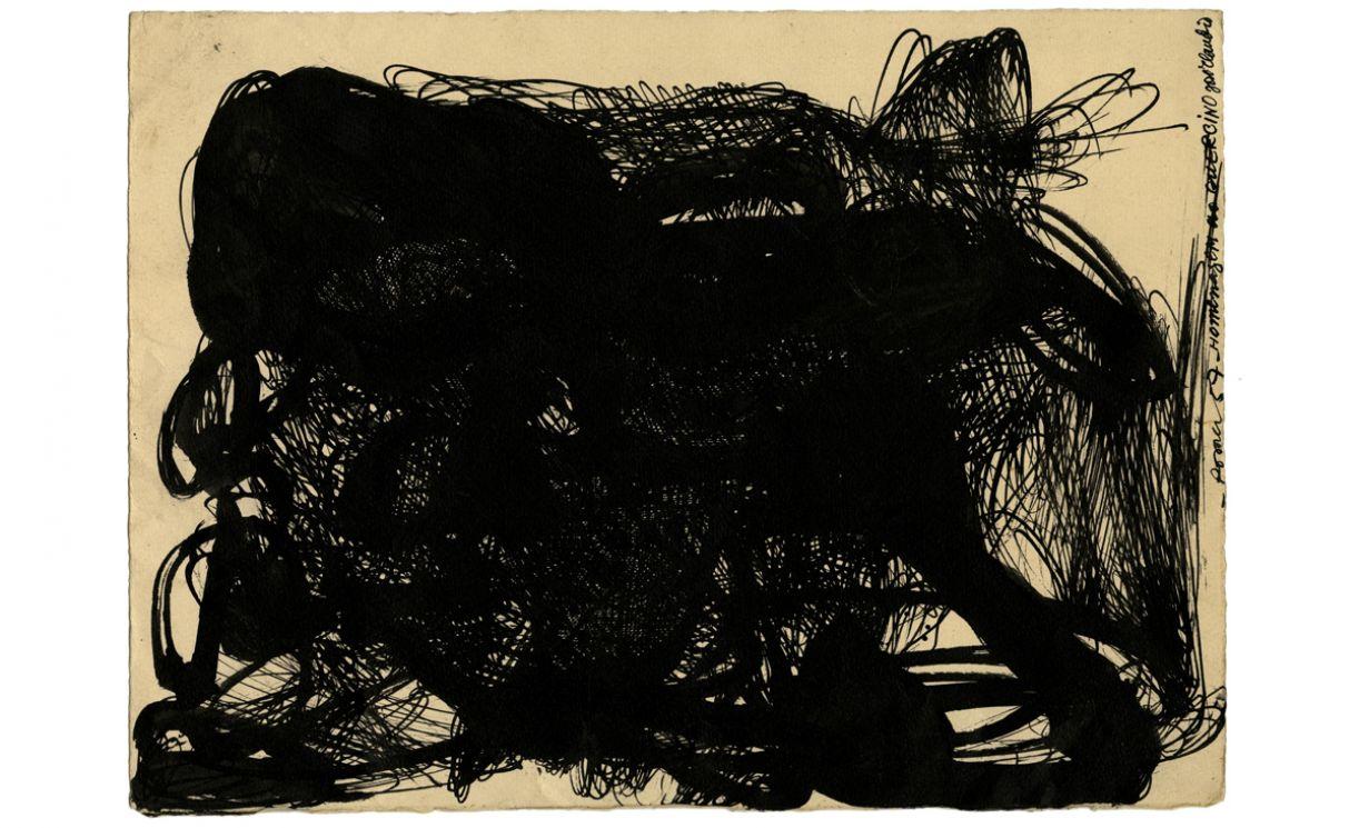 'Homenagem ao Guercino'. Nanquim sobre papel, 29 x 39 cm, Roma, 1958