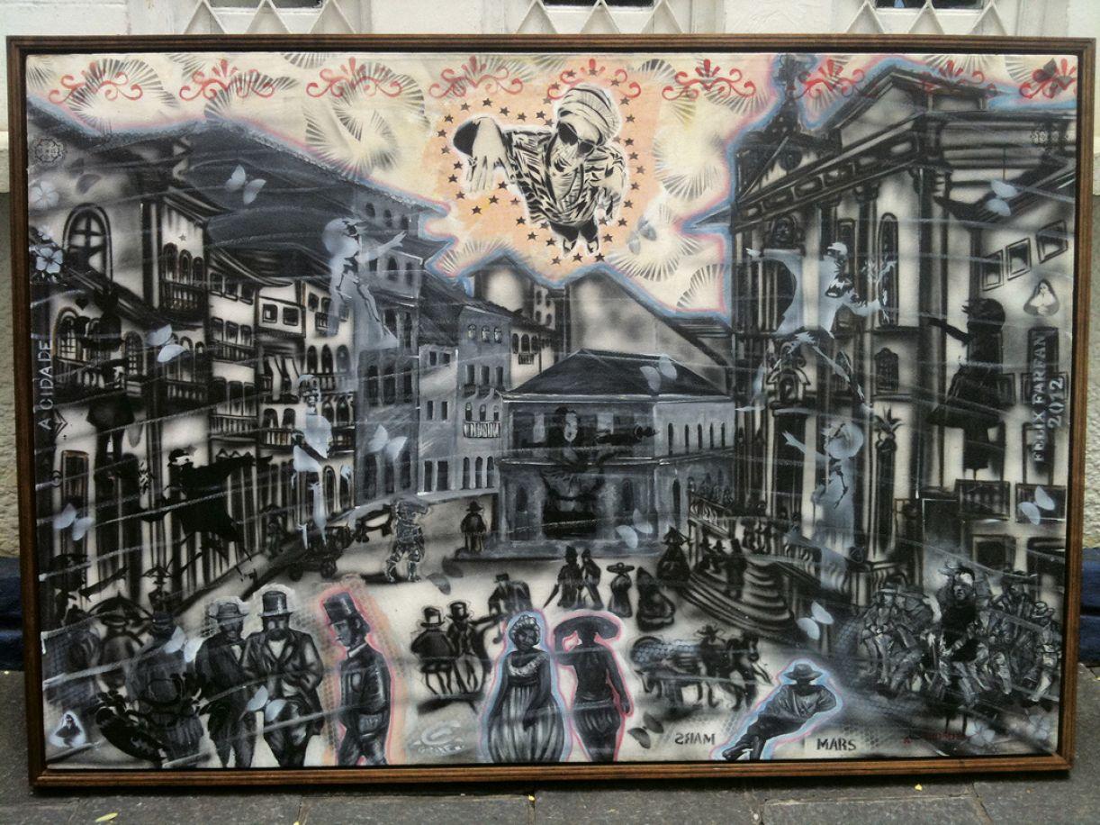 'Praça do Corpo Santo' (baseado na obra de Luis Schlappriz). Acrílica e técnica mista sobre tela, 120 x 170 cm, 2012. Coleção do Palácio do Campo das Princesas, Governo do Estado