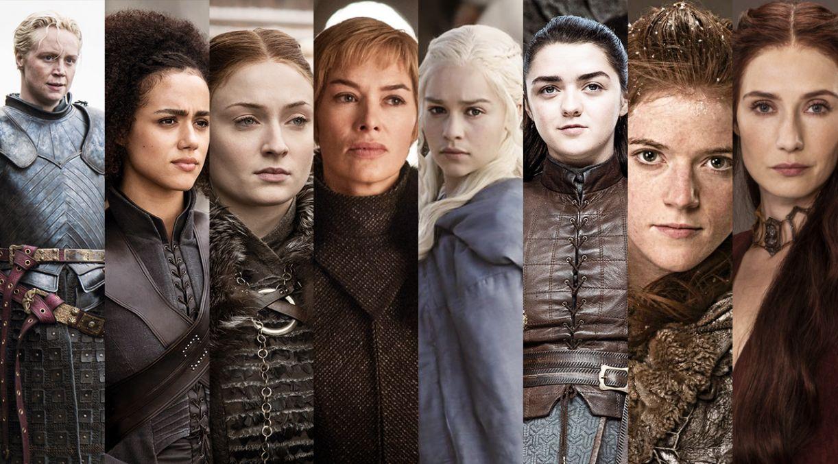 As personagens Brienne, Missandei, Sansa, Cersei, Daenarys, Arya, Ygritte e Melisandre