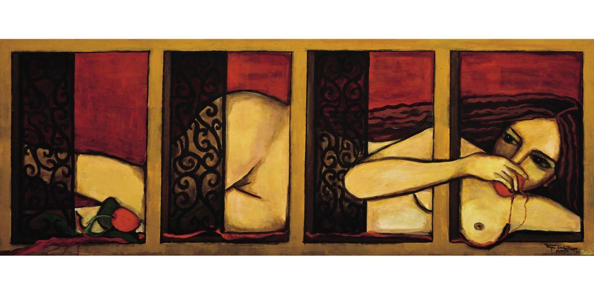 'A manga', de Tereza Costa Rêgo. Acrílica sobre madeira, 0,8 x 2,2m, 2012