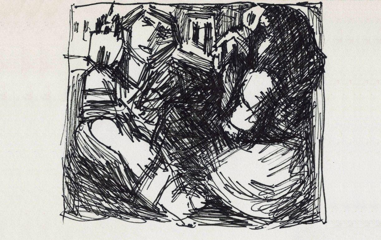 Rabisco feito na visita à exposição do quadrinho de Di Cavalcanti comentado nesta crônica (reprodução não consta no catálogo)