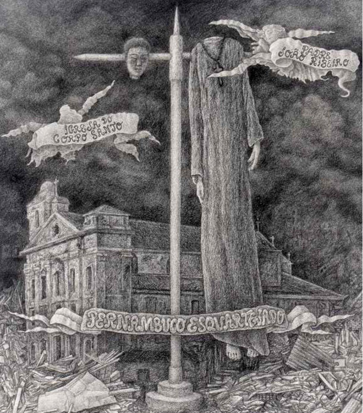 Desenho a carvão de Renato Valle retrata o suicídio do padre revolucionário João Ribeiro