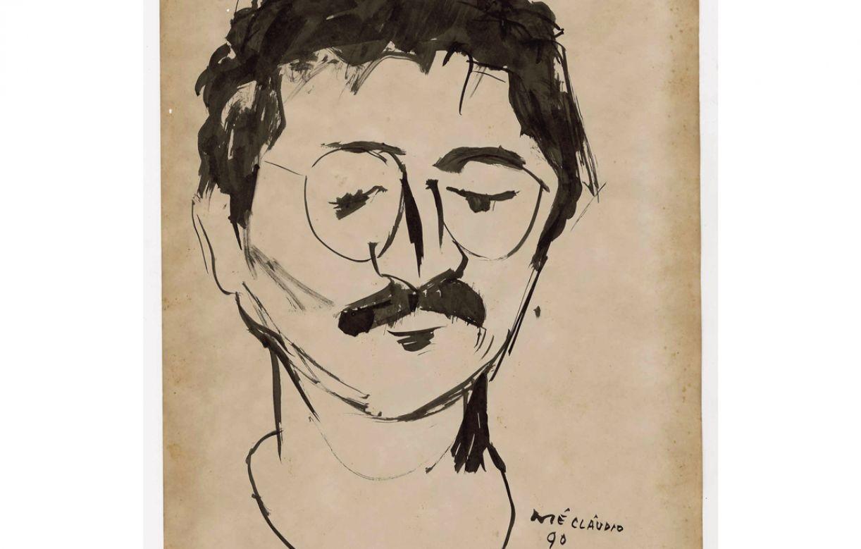 Retrato do poeta José Mário Rodrigues, José Cláudio (1990), pincel e nanquim sobre papel, 28 x 21 cm