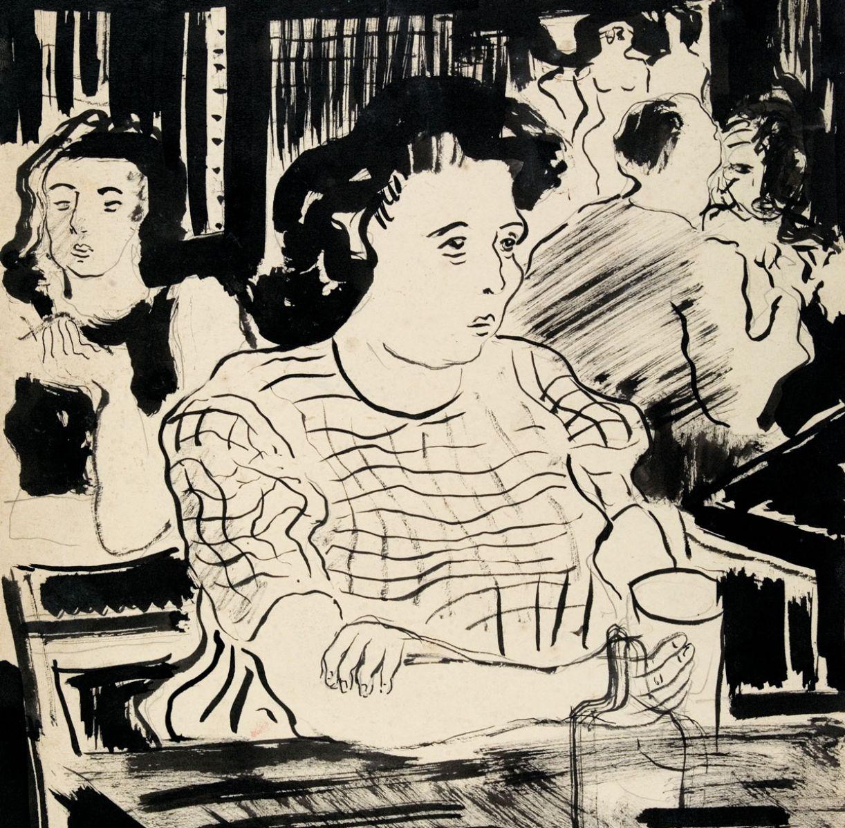 Cenas de bar foi uma das temáticas exploradas pelo paisagista em seus desenhos