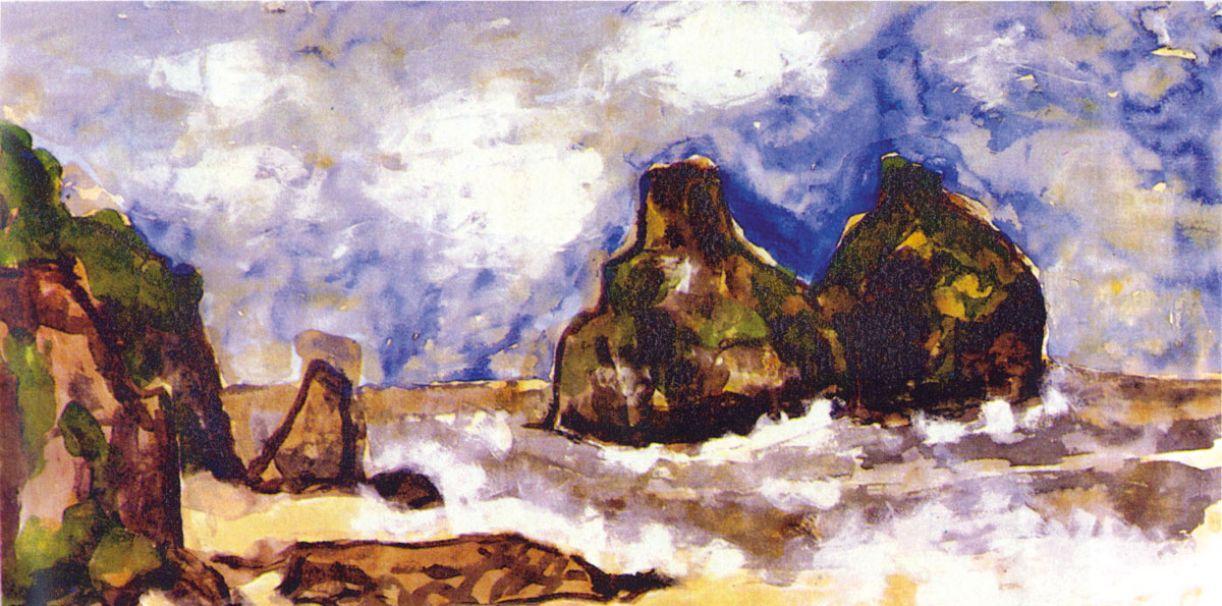 José de Barros Andrade Lima (Recife, 1943-94), 'Dois Irmãos' (Fernando de Noronha), acrílico sobre eucatex, 85 x 170 cm, 1992