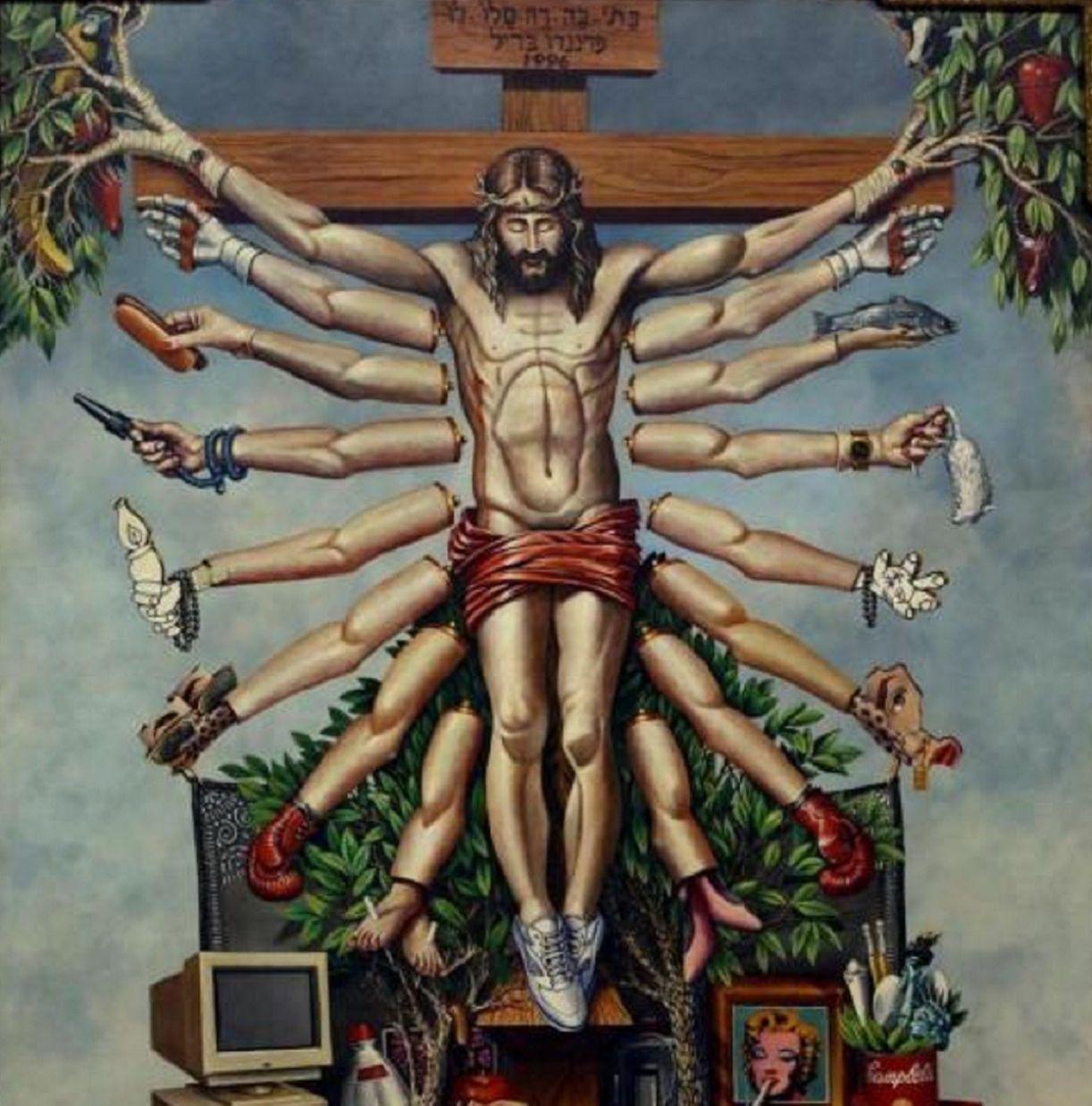 Tela de Fernando Baril, que faz uma fusão entre as imagens de Cristo e do deus Shiva