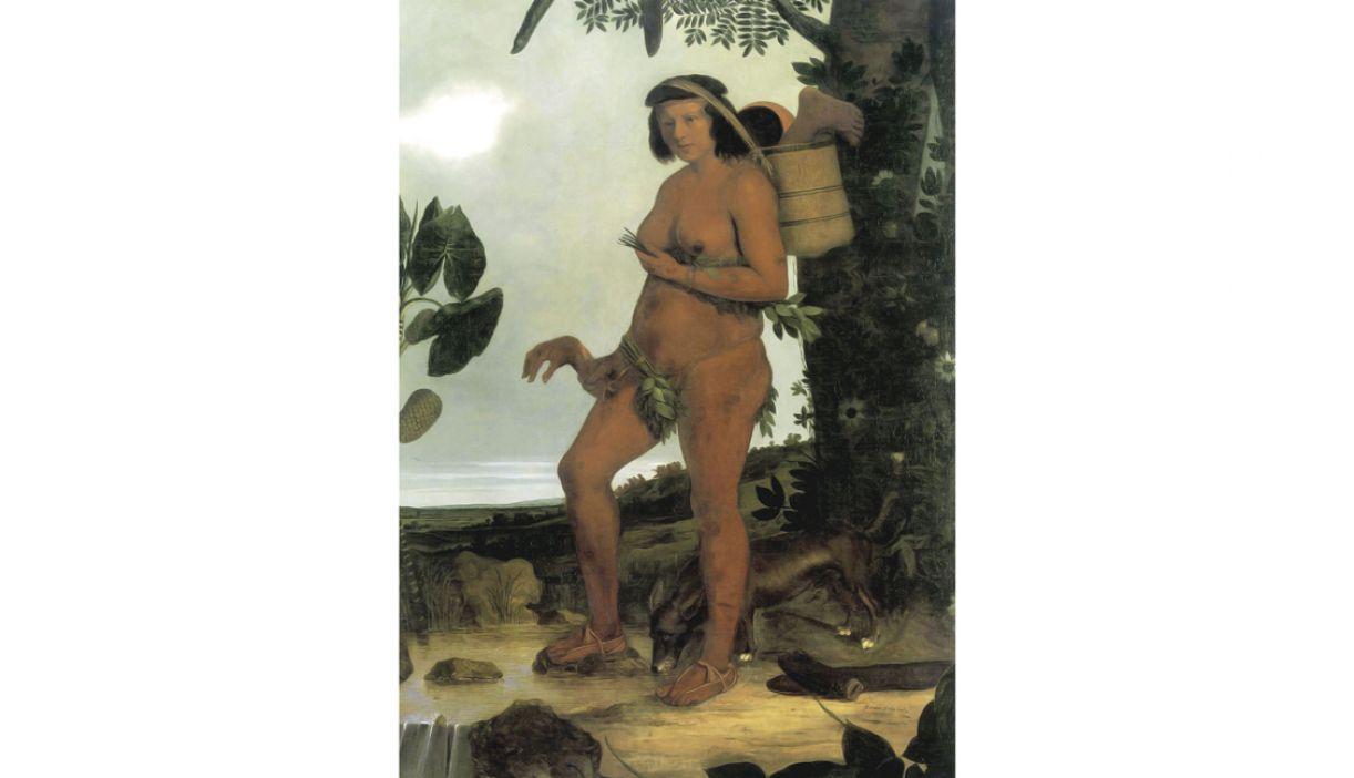 Nesta pintura de Albert Eckhout, a representação da índia brasileira explicita sua nudez