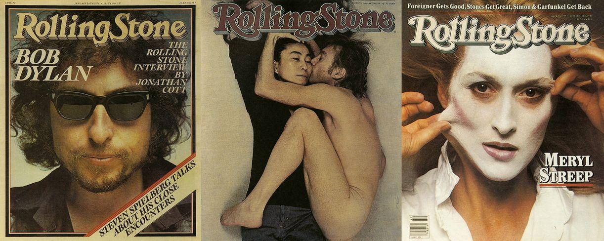Capas icônicas: Bob Dylan, assíduo na revista; Yoko e John, edição sobre sua morte, e Meryl Streep, as duas últimas assinadas por Annie Leibovitz