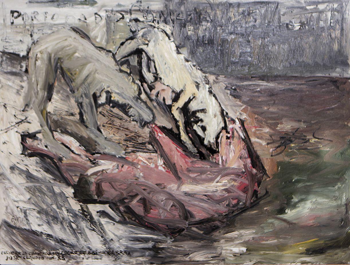 'Cachorros comendo couro de boi', óleo sobre eucatex, jan./88, 68 x 80 cm.