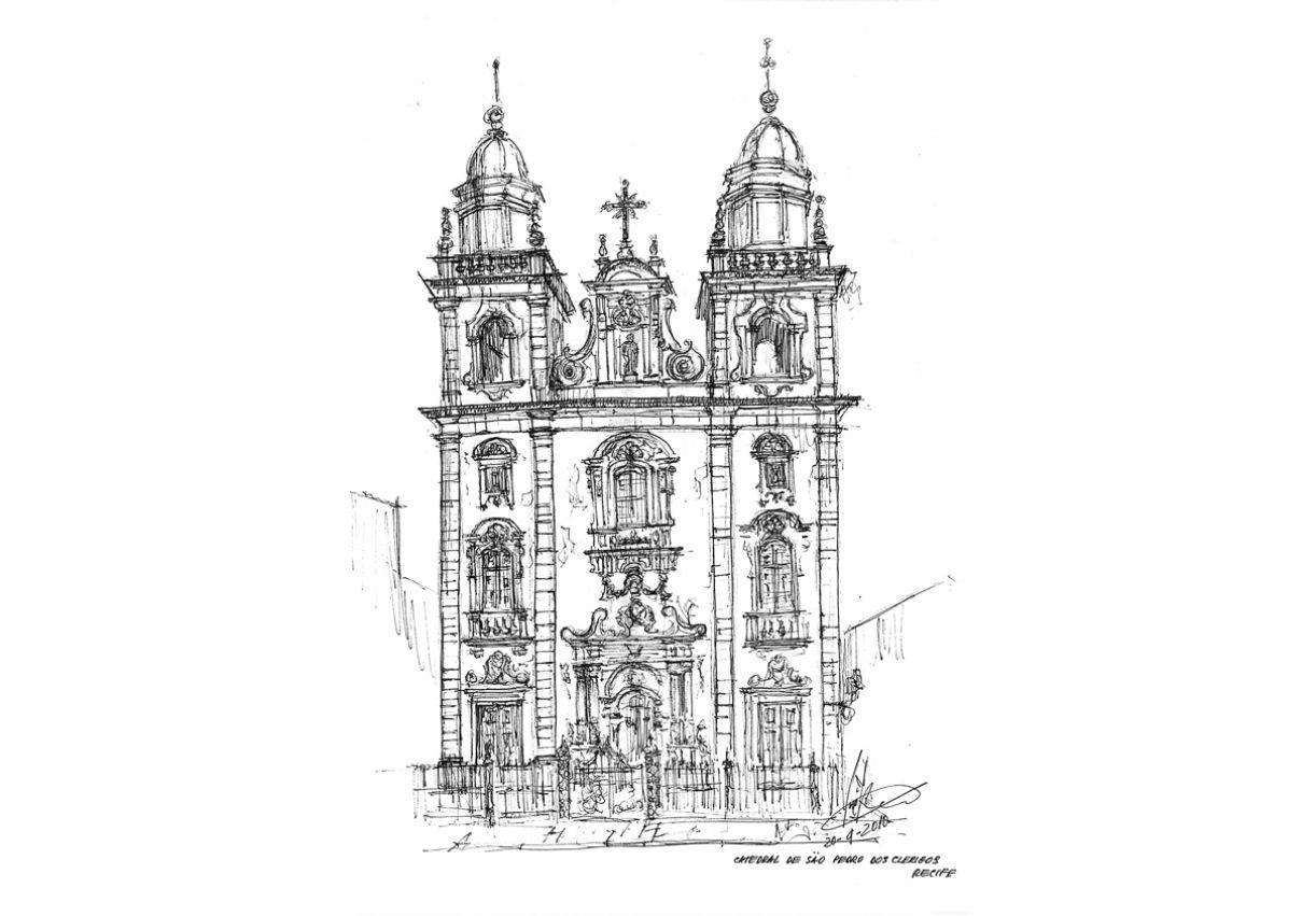 A Catedral de São Pedro dos Clérigos foi registrada em desenho e num mosaico de 1 x1,60m