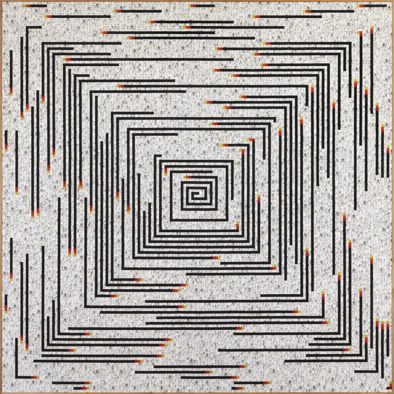 'Círculo numérico crescente' (2016). Peças de quebra-cabeças de plástico sobre madeira, 207 x 207 cm