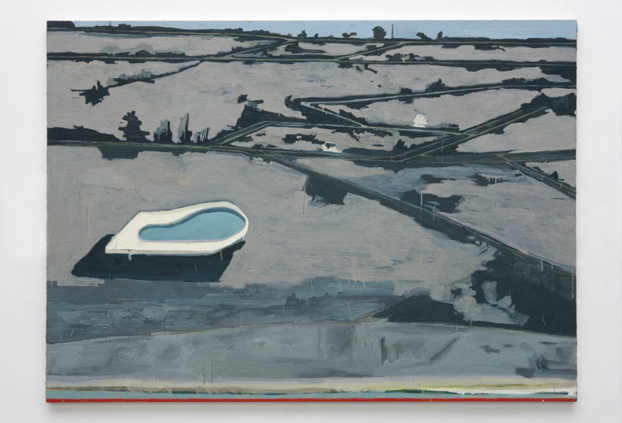 'Malha viária com piscina', óleo sobre tela, 180 x 250 cm, 2010