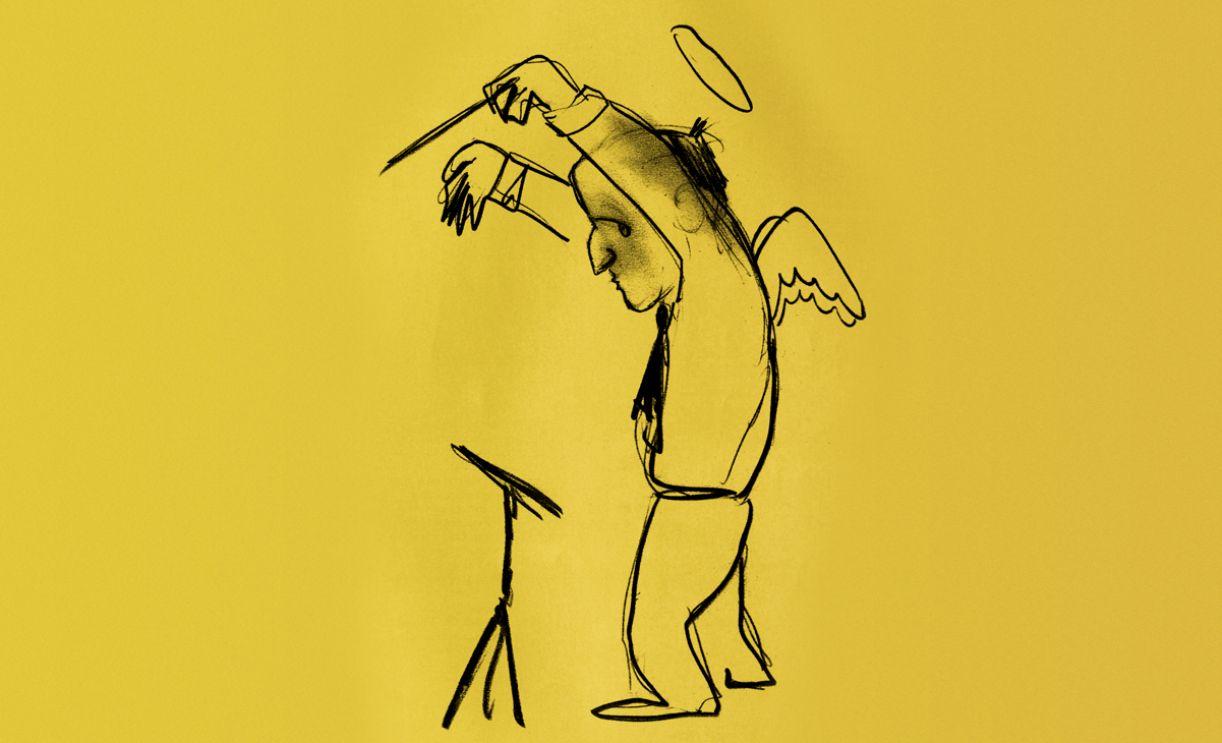Interpretação da figura de Nino Rota pelo traço de Federico Fellini