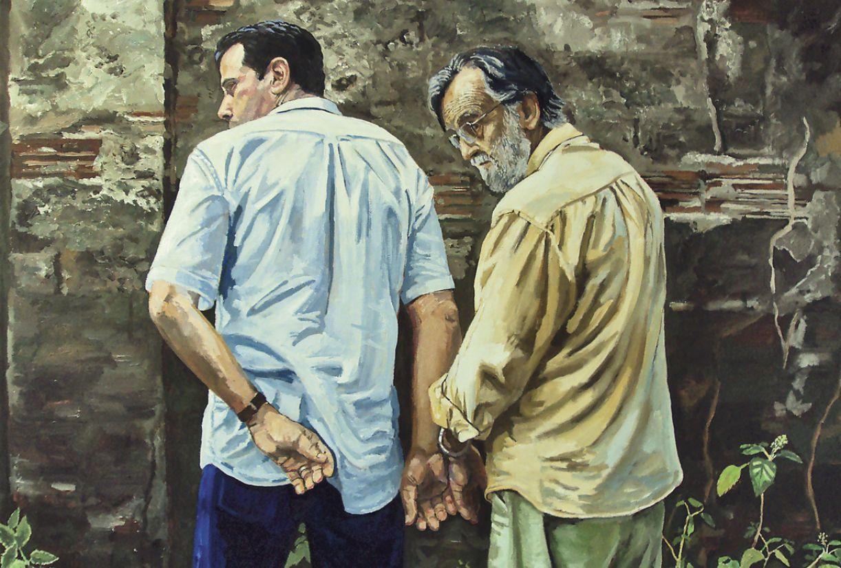 'Gilvan Samico e Marcelo Peregrino' (2010), de Roberto Ploeg. Óleo sobre tela, 1,20x1,60m.