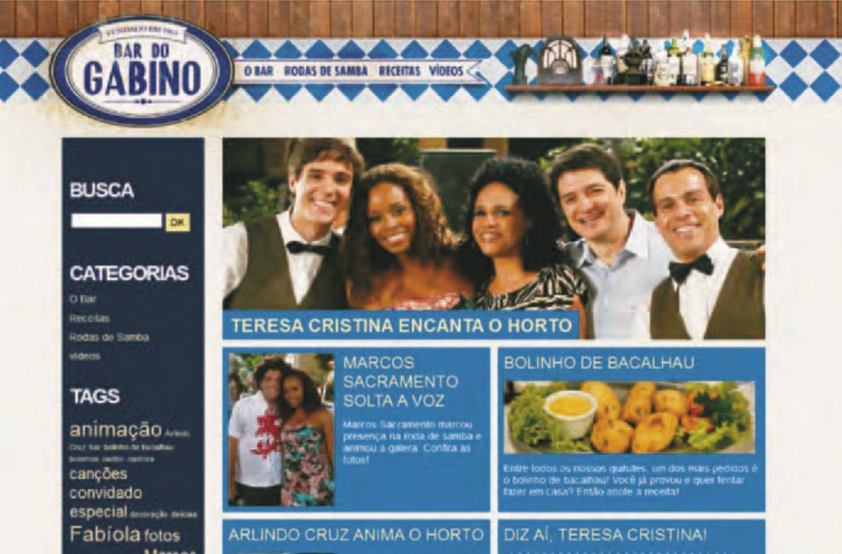Os produtores transmídia da novela 'Insensato coração' criaram o site do Bar do Gabino, ponto de encontro de um núcleo de personagens da novela