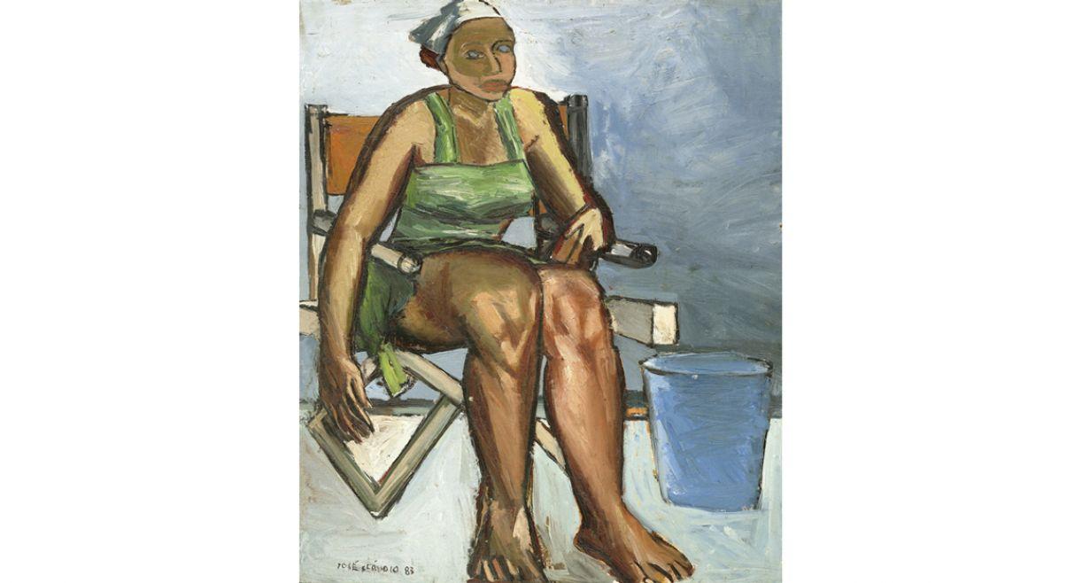 'A bela faxineira', de José Cláudio. Óleo sobre eucatex, 65 x 54cm, 1983.