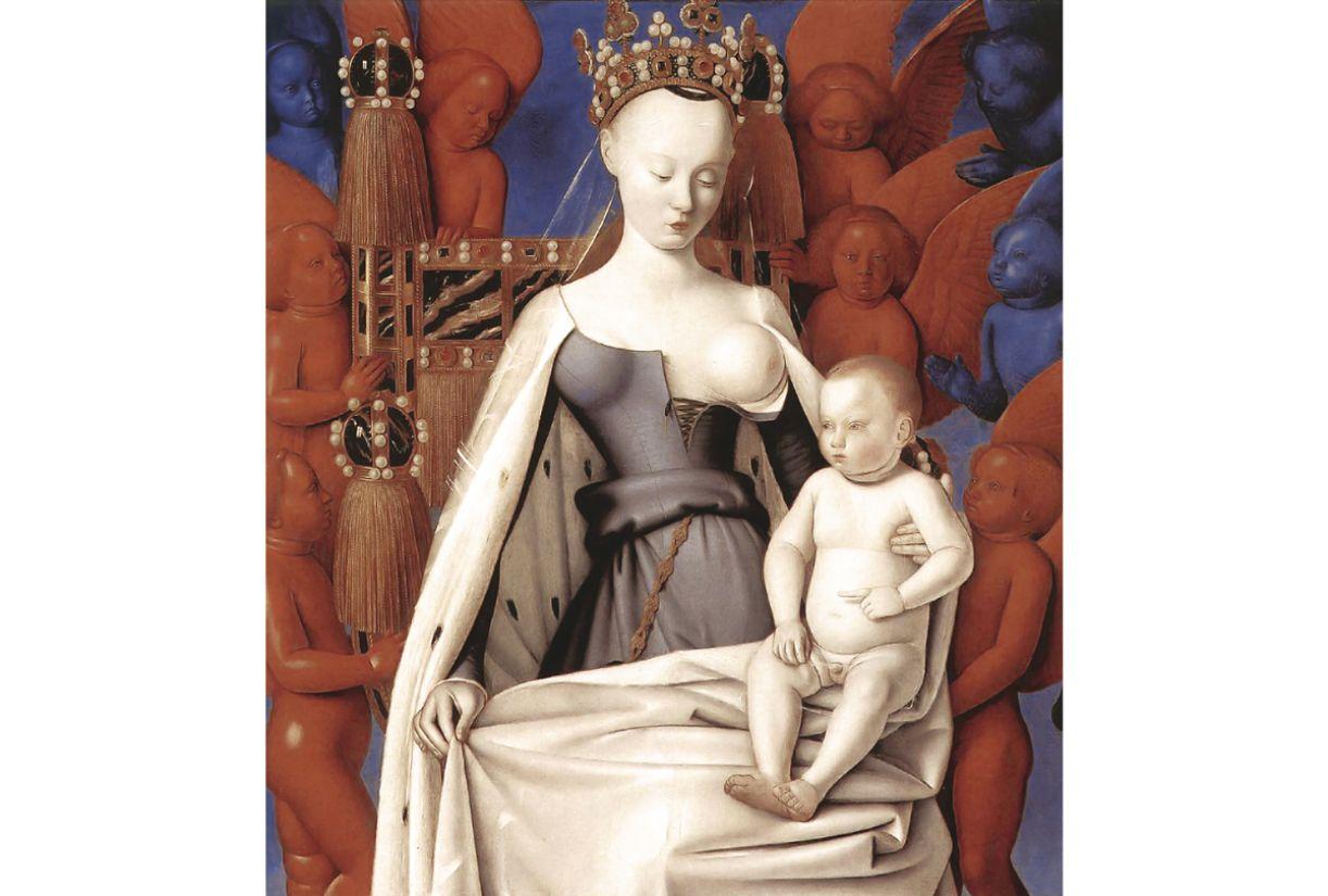 'Virgem com o Menino e anjos', de Jean Fouquet. Óleo sobre madeira, 91x81cm, 1450. Museu de Belas Artes de Antuérpia