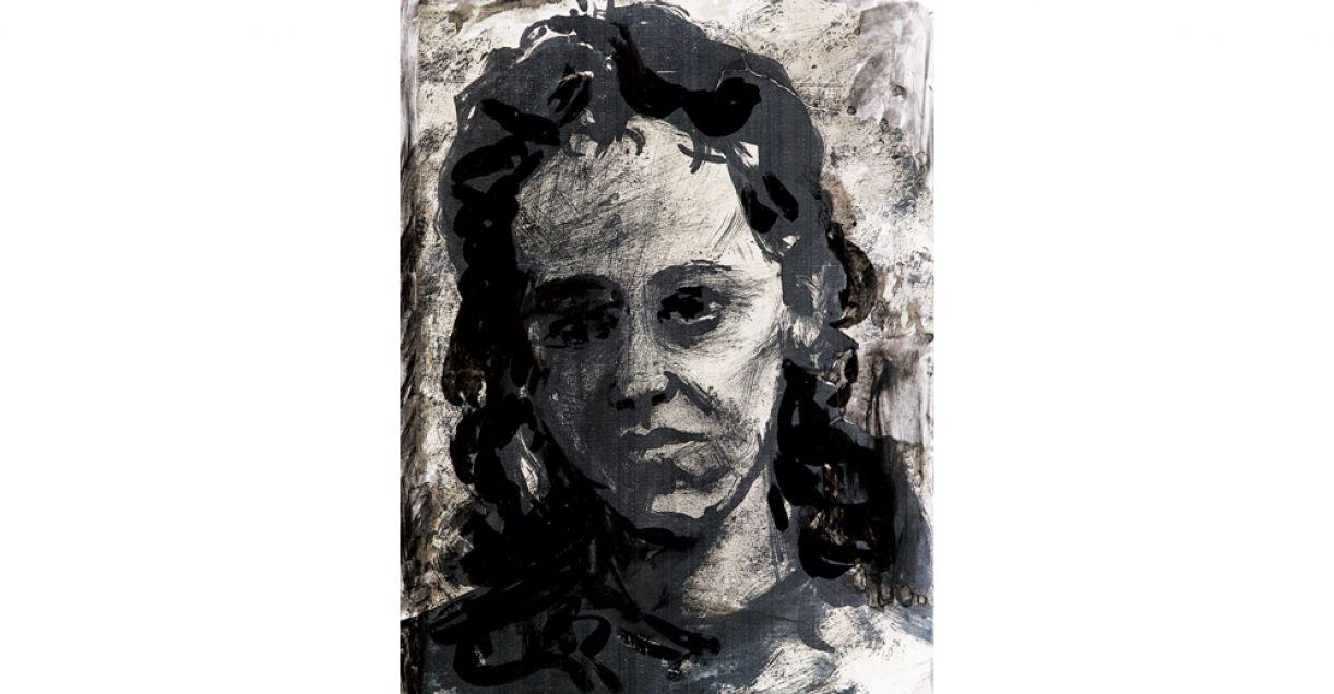 'Retrato de margarida'. Aguada de nanquim sobre papel, 1950.