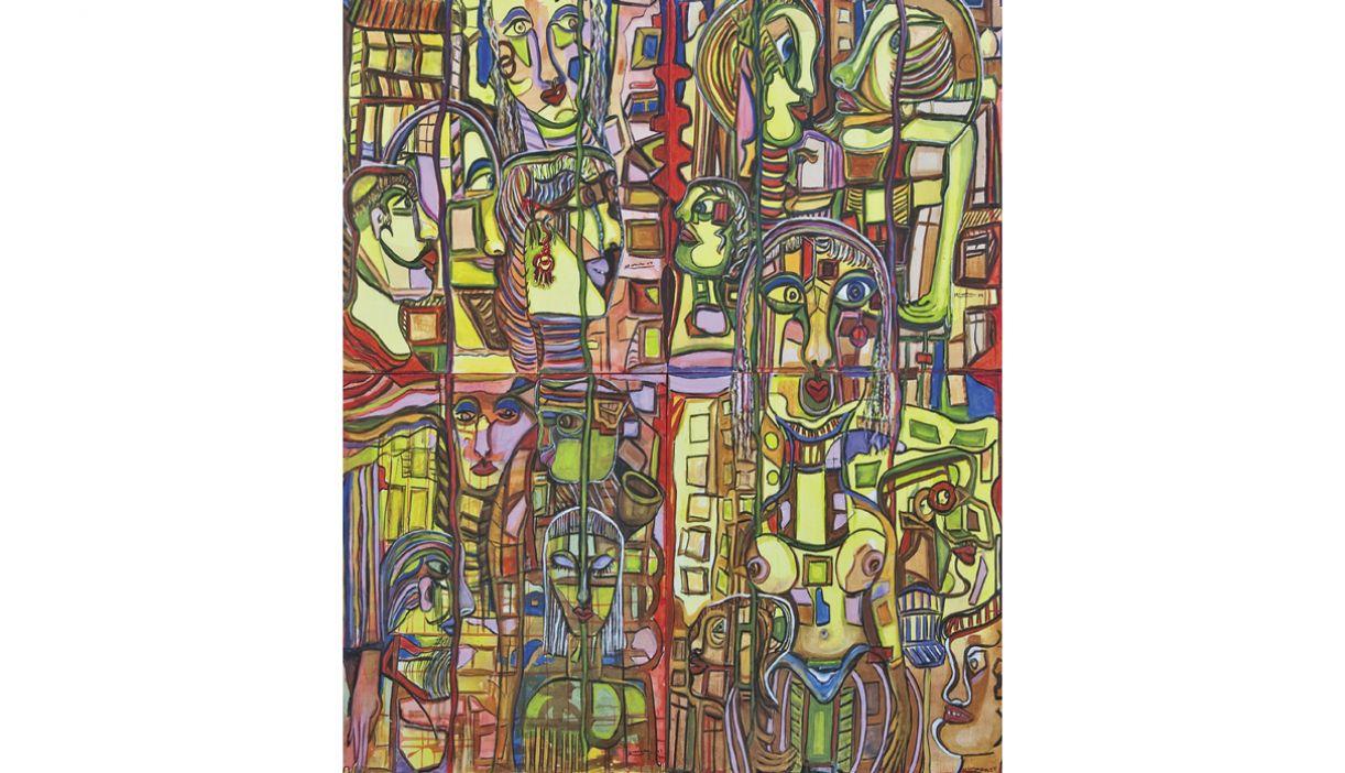 'Cabeças'. Acrílica sobre tela, 200x200cm, 2004