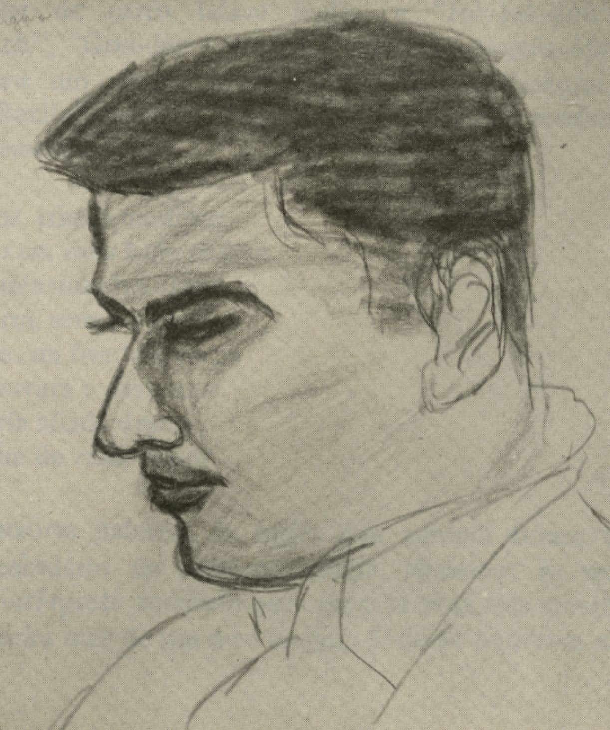 'Retrato de José Cláudio', lápis 'conté' sobre papel de açougue, 1952 ('Memória do Atelier Coletivo', 1958)
