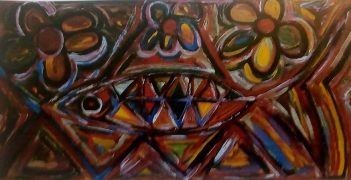 Pintura de Hercílio Santos. Acrílico sobre tela, 0,5 x 1 m, 2019