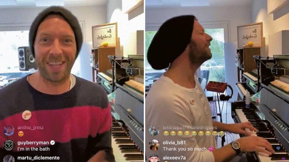 Chris Martin, da banda Coldplay, é um dos artistas que participa do movimento #togetherathome