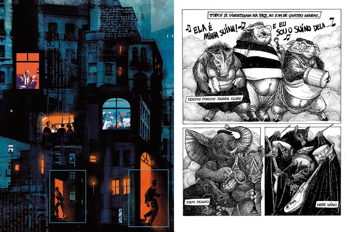Lado a lado, respectivamente, página das HQs 'O obscuro fichário dos artistas mundanos' e 'Polinização'