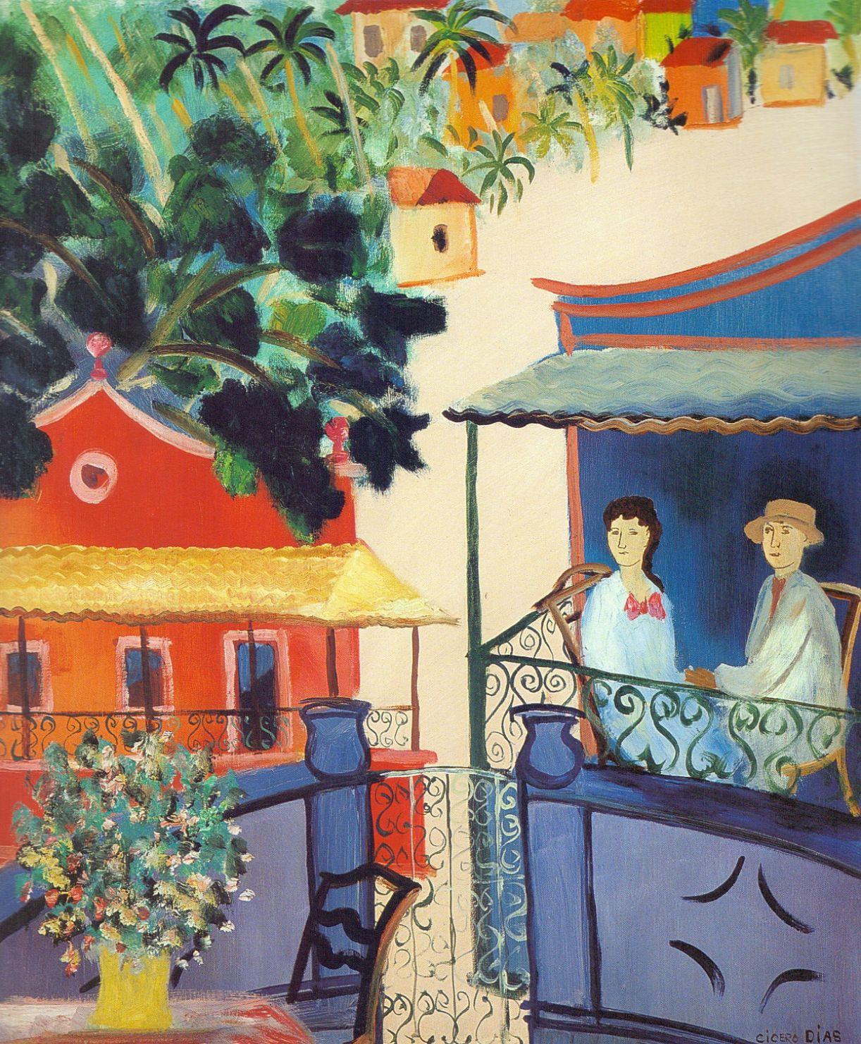 'Casal no Alpendre', década de 1950, óleo sobre tela, 65 x 54 cm, coleção Waldir Simões de Assis Filho, Curitiba