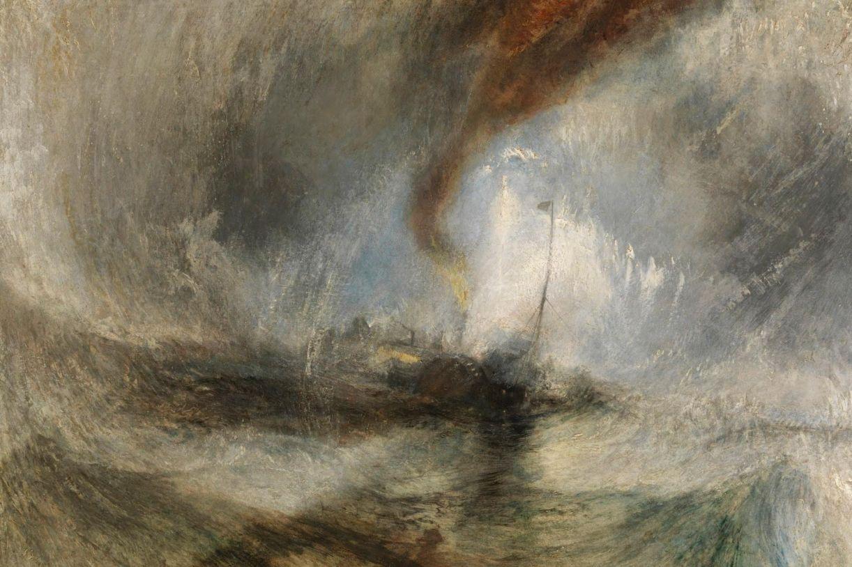 Pintura de Joseph Mallord William Turner, 'Tempestade de neve: barco a vapor na boca de um porto', 1842