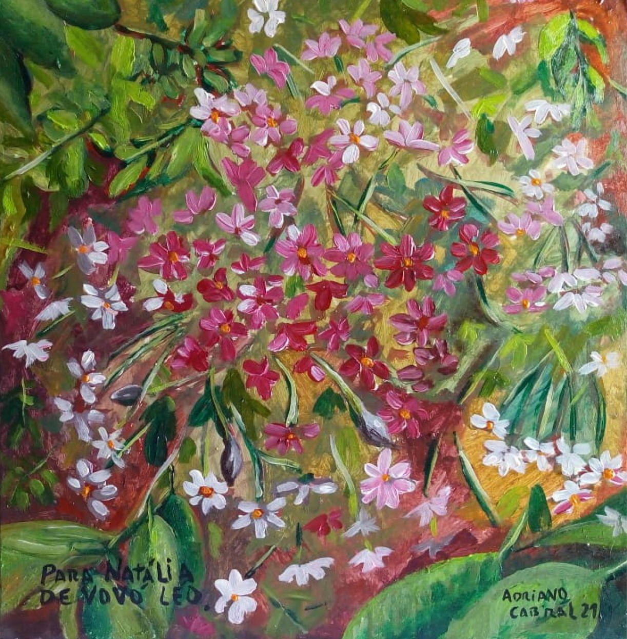 'Flores', acrílica sobre eucatex, 30 x 30cm, 2021