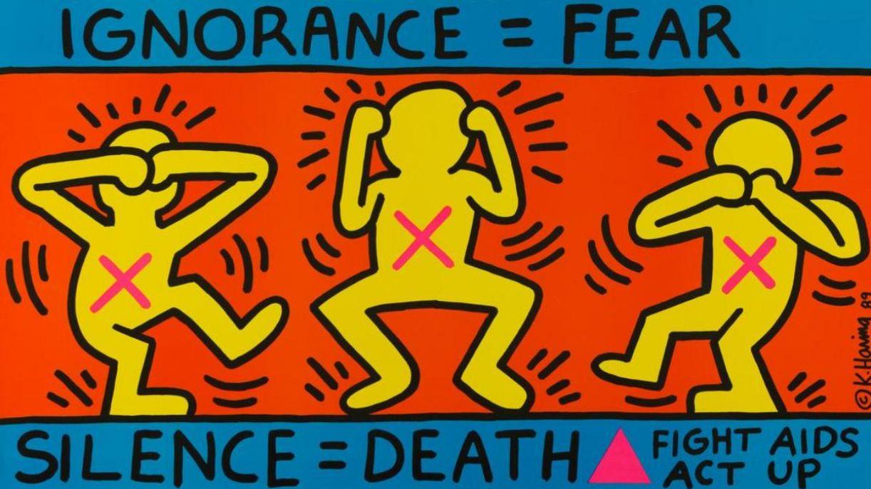 Obra 'Ignorance = Fear' (1989), do norte-americano Keith Haring, morto em 1990, em decorrência do HIV