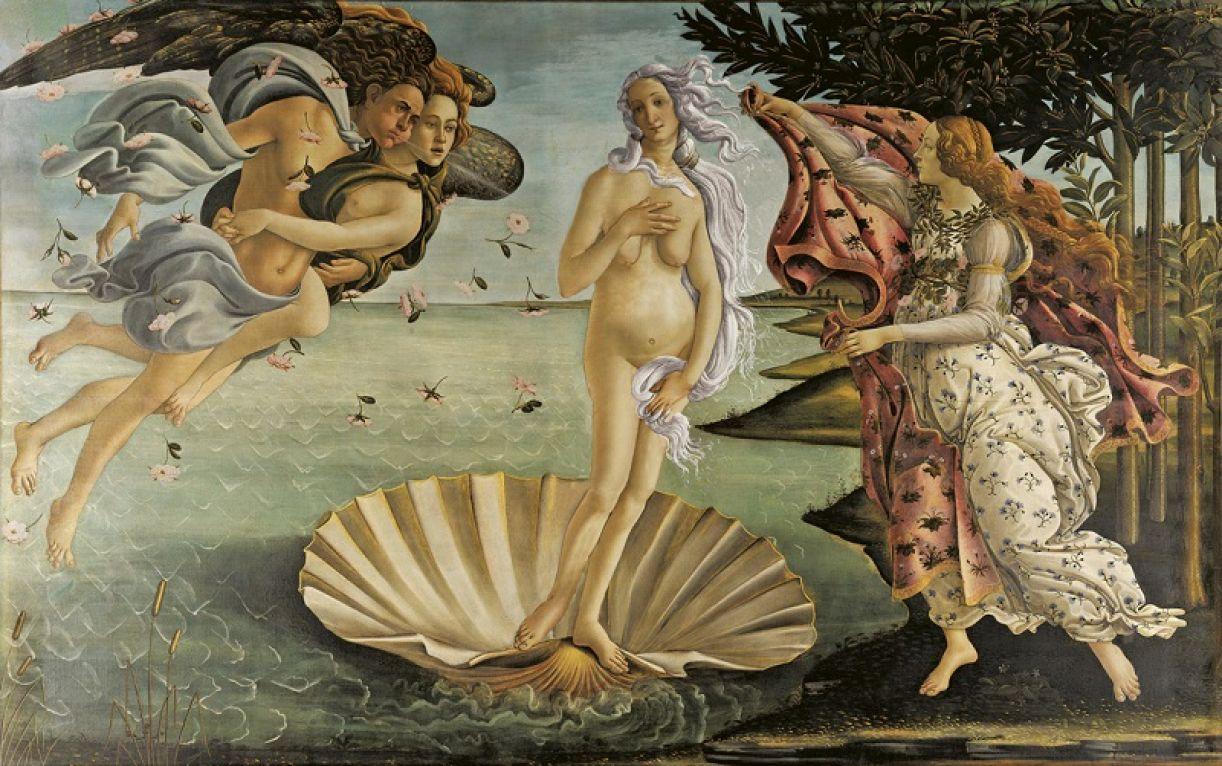 Intervenção na pintura 'O nascimento de Vênus', de Sandro Botticceli, 1485-86