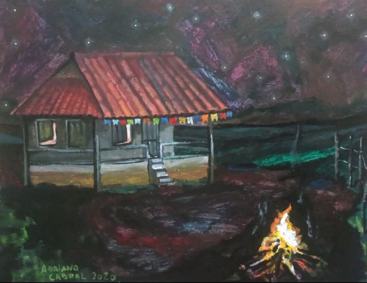 'Noite de São João'. Acrílica sobre eucatex, 40 x 50 cm, 2020