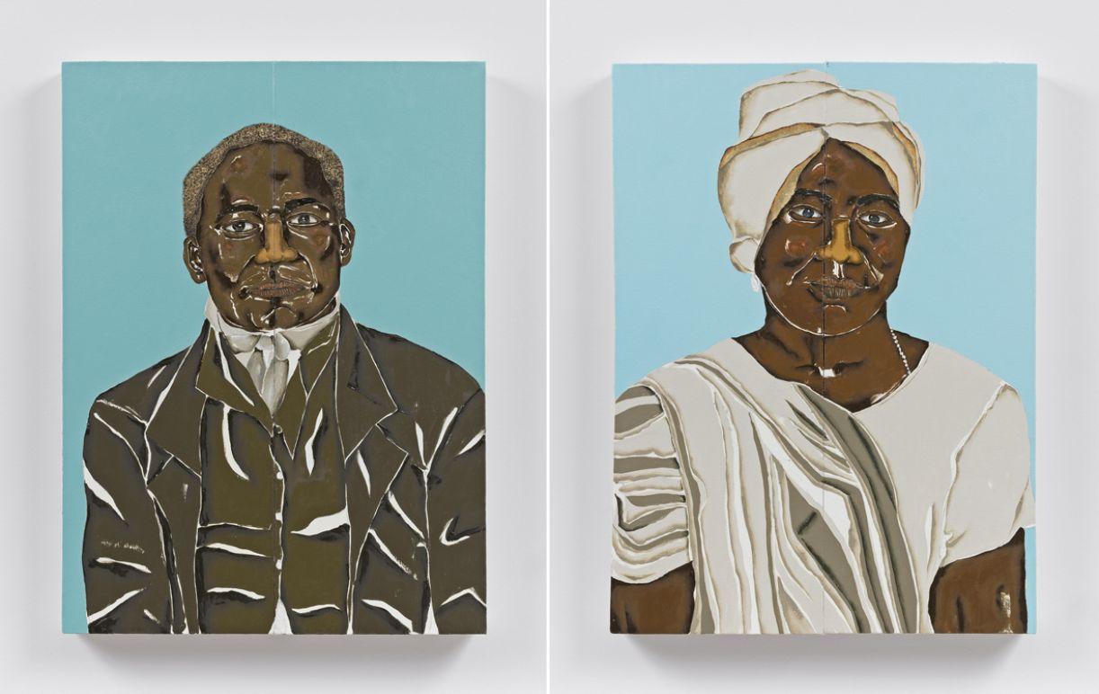 Pinturas 'Chico Rei' e 'Esperança Rita', óleo e folha de ouro sobre tela, 45 x 61 cm (cada), 2020