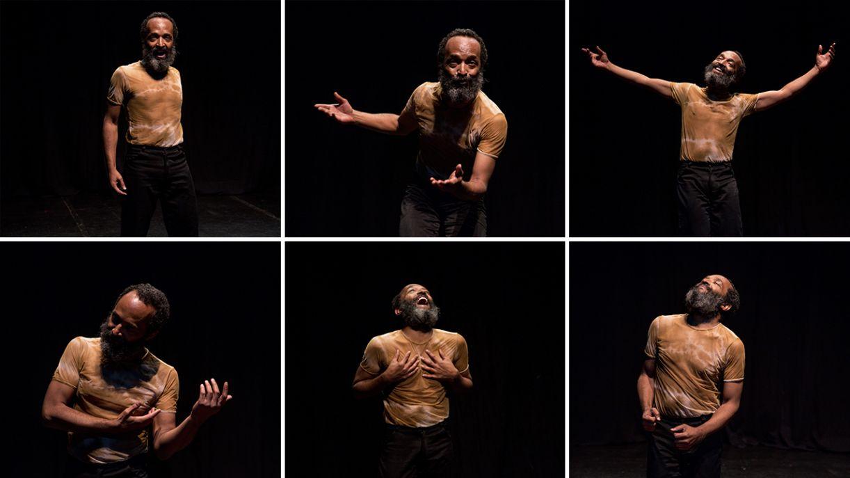 As faces de Rubi em ensaio no palco do Espaço Parlapatões, em São Paulo